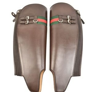 GUCCI: Brown Leather, Boot Shaft Gaiters -One Size